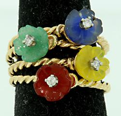 Colorful Gemstone Stacking Rings S/4