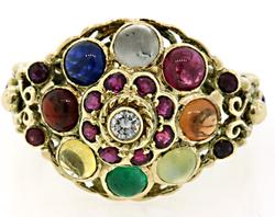 Colorful Multi Gemstone Thai Style Ring