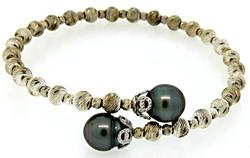 Sterling Silver Wrap Bracelet with Black Pearls