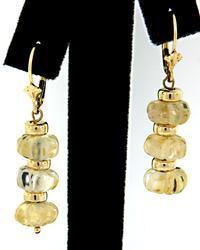 Carved Citrine Dangle Earrings