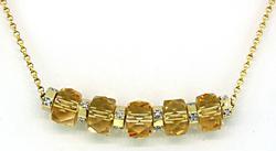 Elegant Citrine & Diamond Barrel Necklace