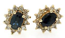 Classic Sapphire & Diamond Halo Earrings