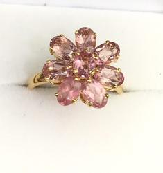 Pink Tourmaline Cocktail Ring in 14kt Gold