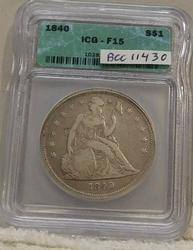 1840 Seated Liberty Dollar, ICG F-15, First Year Issue.
