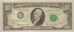 ERROR 1974 $10.00 Green Seal Federal Reserve Note