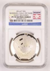 PF70UCAM Early Releases 2014-P Baseball HOF Silver Dollar - NGC Graded