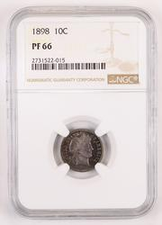 PF66 1898 Barber Dime - NGC - 735 Minted