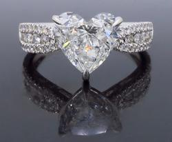 GIA Certified 2.87CTW Heart Shaped Diamond Ring