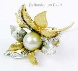 Extraordinary 14K Pearl & Diamonds Flower Brooch