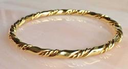 Lovely, Gold Plated, Twisted, Braided Design Bangle Bracelet