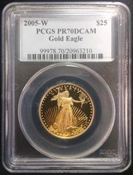 2005-W $25 1/2oz Gold Eagle PR70DCAM PCGS