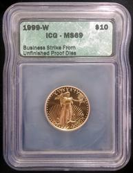 1999-W $10 1/4oz Gold Eagle MS69 ICG Unfinished Proof Dies