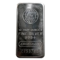 Engelhard Silver Bar 10 oz Bar Tall E Globe