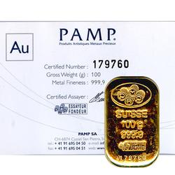 PAMP Suisse 100 Gram Gold Bar Poured Design