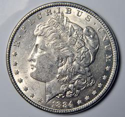 1884 Almost Unc Morgan Silver $