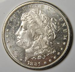 1881-S Brilliant Uncirculated Morgan $, Prooflike Surfaces