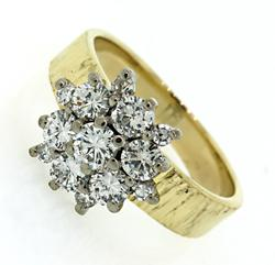 Two Tone Diamond Cluster Ring