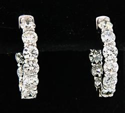 Oval In & Out Diamond Hoop Earrings