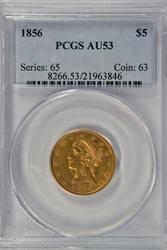 Near Mint 1856 No Motto $5 Liberty Gold Piece PCGS AU53