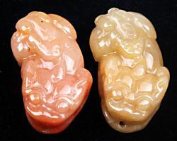 Pair of Jade Carved Pendants