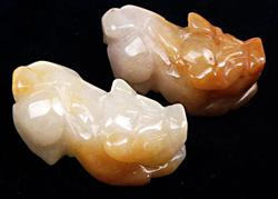 Group Lot of 2 Jade Hand Carved Pendants