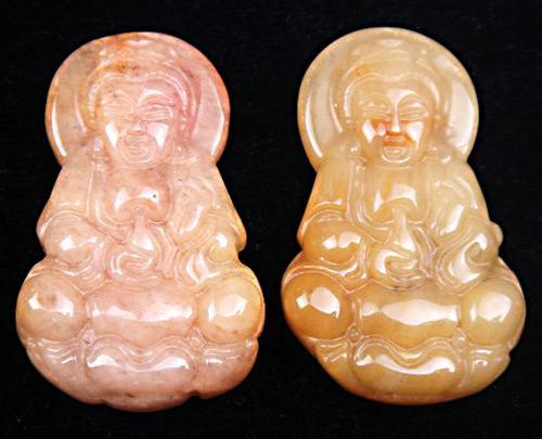 Jade Hand Carved Pair of Pendants