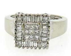 Square Cluster Ring w/ Princess & Baguette Cut Diamonds