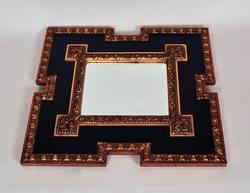 Vintage Italian Mirror, Black Frame with Gilded Details
