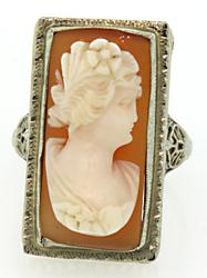 Vintage Carved Cameo Ring