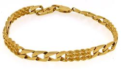 Unique 14kt Yellow Gold Figaro Style Bracelet