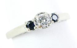 Elegant Very Fine 14K Diamond & Sapphires Ring
