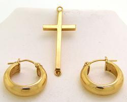Gold Set of a Cross Pendant and Hoop Earrings, 14k