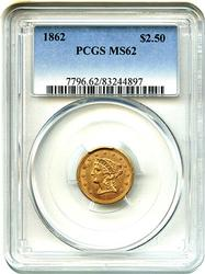 1862 $2 1/2 Liberty T1 Gold Quarter Eagle PCGS MS62