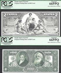 $2 1896 Educational INTAGLIO PRINT 2pc PCGS 66 PPQ