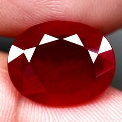Lavish 8.37ct oval faceted blood red Ruby
