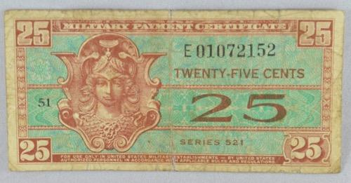 25 Cent MPC Fractional Series 521 Replacement Note 14 Known
