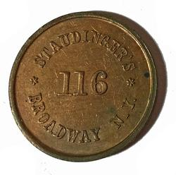 1863 NYC Red BU  Civil War Token NYC 630 Bs-1 a