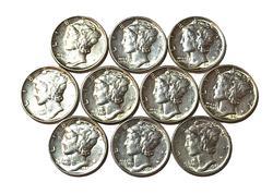10 Assorted 1941 White BU Mercury Dimes