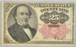CH AU 25 Cent Fractional Note  Fr -1308 Long Key Fifth Series