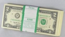 Pack of Consecutive Choice Crisp Unc 100 1985 Atlanta $2 US Notes