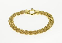 Ornate Tiered Popcorn Link Braid Woven Design Bracelet