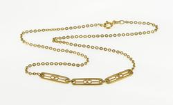 18K Yellow Gold Infinity Bar Link Pressed Cable Chain Necklace