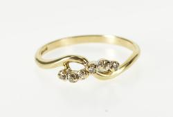 10K Yellow Gold Diamond Inset Infinity Wavy Curvy Design Band Ring