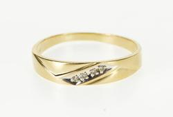 14K Yellow Gold Diagonal Inset Grooved Men's Wedding Band Ring
