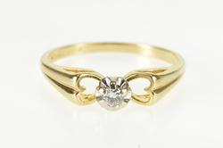 14K Yellow Gold Diamond Heart Cut Out Promise Engagement Ring