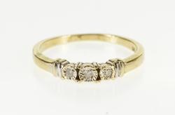 10K Yellow Gold Three Stone Diamond Inset Engagement Ring