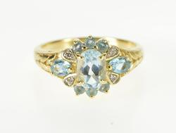 Blue Topaz Diamond Accent Cluster Leaf Accent Ring