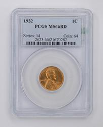 MS66RD 1932 Lincoln Wheat Cent - PCGS Graded