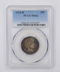 MS62 1914-D Barber Quarter - PCGS Graded