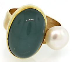 Chalcedony & Pearl Abstract Ring